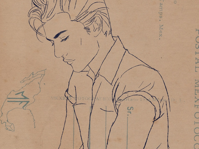 Lucky Blue Smith Portrait Ink Drawing model portrait illustration