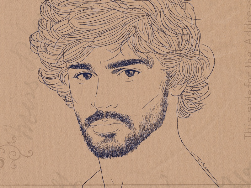 Marlon Teixeira Portrait Ink Drawing illustration vintage fineart lineart men male model portrait ink drawing