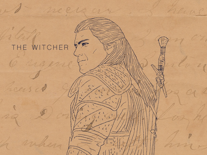 The Witcher Ink Drawing game character illustration ink drawing henry cavill the witcher