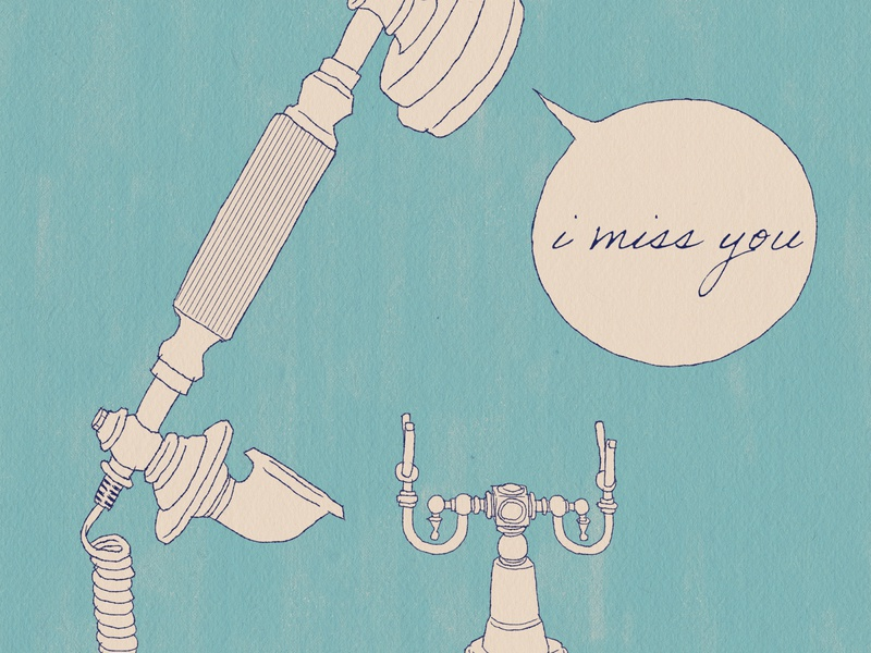 I miss you illustration connection relationship blue vintage ink drawing phone still life telephone i miss you
