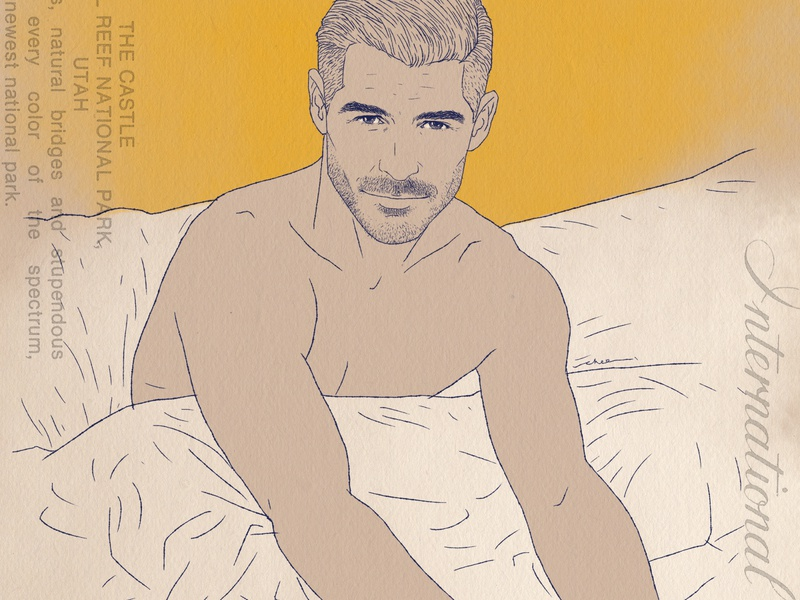 Stay in bed illustration ink drawing lifestyle portrait male model bed time eric rutherford