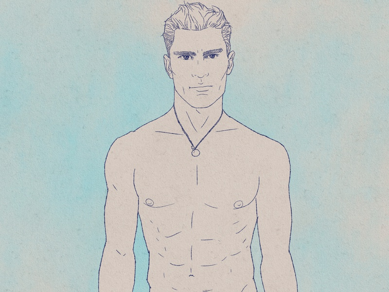 Oliver Cheshire illustration ink drawing summer male model men oliver cheshire