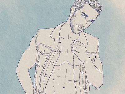 Tobias Sorensen Ink Drawing denim men illustrator fashion illustration male model tobia sorensen inkdrawing