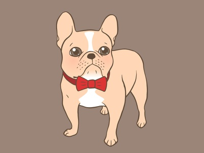 Cute Light fawn French Bulldog with a red bow tie illustration drawing animal dog lover cute dog preppy bow tie puppy pet dog french bulldog frenchie