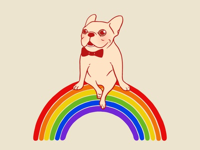 Frenchie celebrates Gay Pride Month on an LGBTQ rainbow