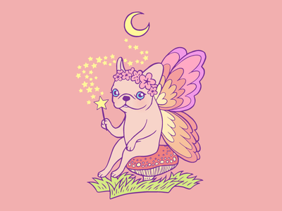 Make a wish while Frenchie fairy is casting a magical spell illustration drawing cute dog puppy dog pet fantasy make a wish magic fairy tale french bulldog frenchie