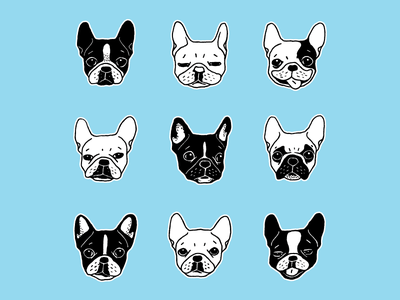 Cute Frenchies Doggie Family Collage doodle sketch illustration frenchie drawing puppy dog pets life frenchi lover cute frenchie dog party pattern french bulldog frenchies collage