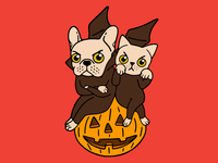 Cute Frenchie and kitten are Halloween buddies