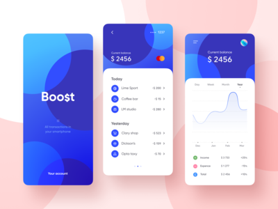 Boost - a finance app blue ux ui ios android fintech dashboard limit credit card card balance cost money banking bank finance