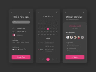 DayDiary - Calendar app ui ios android picker minimal deadline calendar app calendar ui black pink clean dark planner planning organizer shedule calendar
