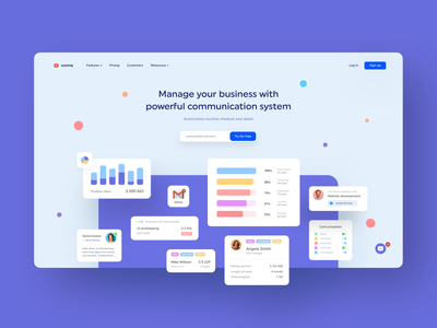Commy - communication system for business saas website calendar analytics shedule task erp saas managment company web form deals platform interface employee dashboad business soft sales
