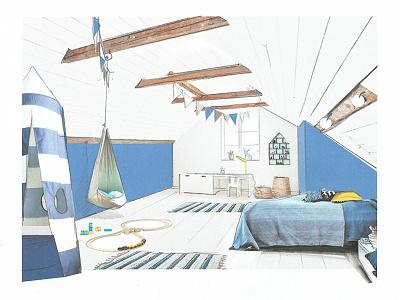 Blue Room  design sketch concept paint interiors design blue room kids room
