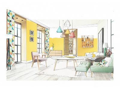 Yellowroom design sketch concept paint interiors design yellow room living room