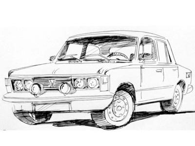 Fiat 125P paint logo vector design drawing illustration concept sketch
