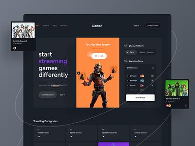 Gamor Streaming Platform 🎮  | Hero Header platform website header landing page landing hero web mockup fortnite dark live stream app ui application minimal clean app ux ui