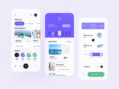 Flyer Travel App UI ✈️ hire destination weather ticket application dark airline airbnb travel airplane flight designer app ui minimal clean app ux ui