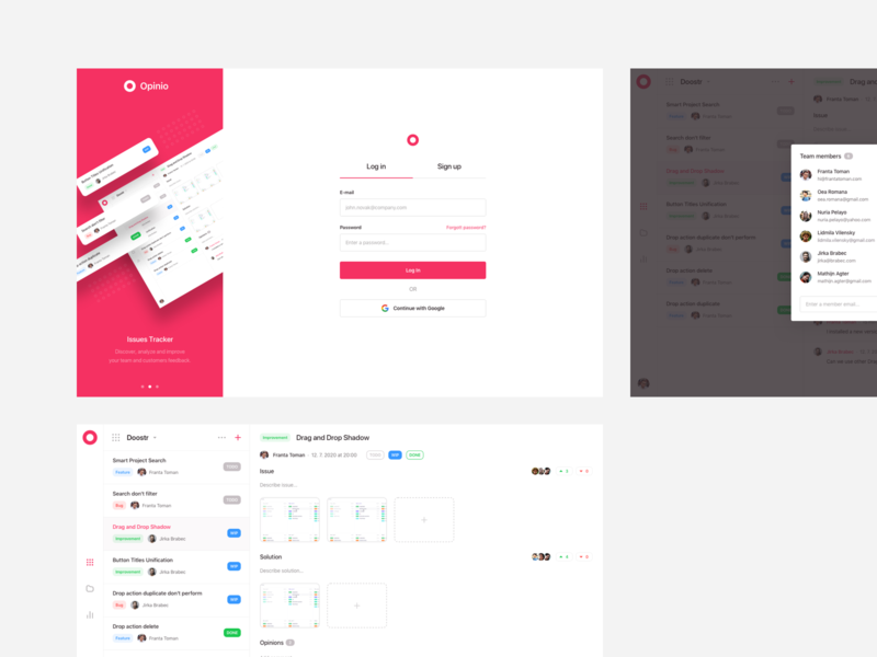 Opinio UI Design tracker menu navigation layout issue tracker issue feedback log in sign in simple clean designer team members sharing share listing dashboard ui design ui
