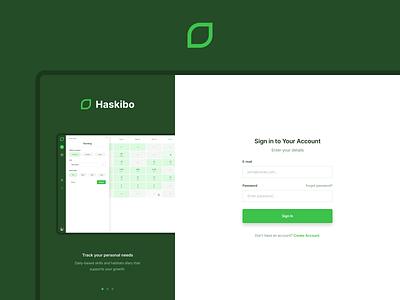 Haskibo - Login UI layout app ux ui web simple white green sign in ui login page login screen onboarding sign in signin sign login