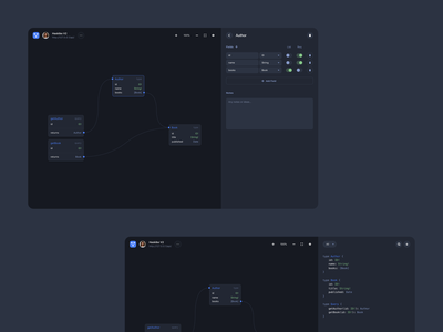 GraphQL Visual Editor UI design uiux sidebar drawer javascript coding development product dark ui dark visual editor toggles form layout code graphql graph editor ui