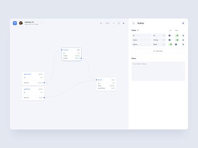 GraphQL Visual Editor UI - Light Mode minimalism minimal design layout graphql app application graph editor editor clean userinterface light uiux canvas form code uidesign ui