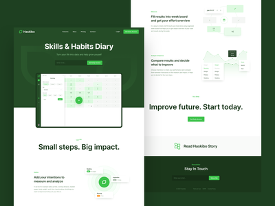 Haskibo - Web time management ui design uiux ux ui haskibo page homepage landingpage landing webdesign clean big typography app green design web design website web