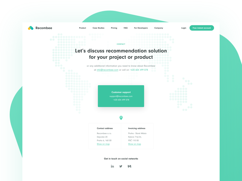 Contact Page / Recombee by Franta Toman on Dribbble