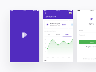 Productbot Mobile Design graph ios clean sign up sign in tabs dashboard ui mobile app bot design