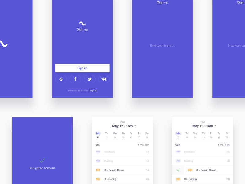 Flow App / UI Design success ui mobile ios todo calendar listing sign in sign up clean app