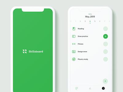 Skillsboard Mobile UI tabbar ios swiper swipe calendar actions action splash list appui app minimalism minimal simple clean white green uiux ux ui