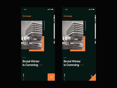 Architecture Blog Design minimalism ux clean design dark orange architecture swipe listings landing menu interaction ui mobile ui mobile listing