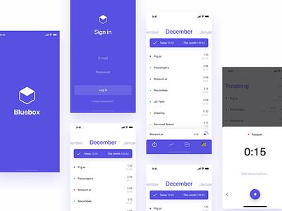 Bluebox - Personal Timetracker minimal mobile app productivity tracker time timetracker listing mobile app ux clean simple design ui