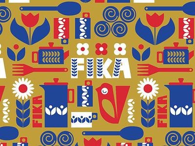 Fika Pattern pattern design surface pattern swedish folk art fika spoonflower