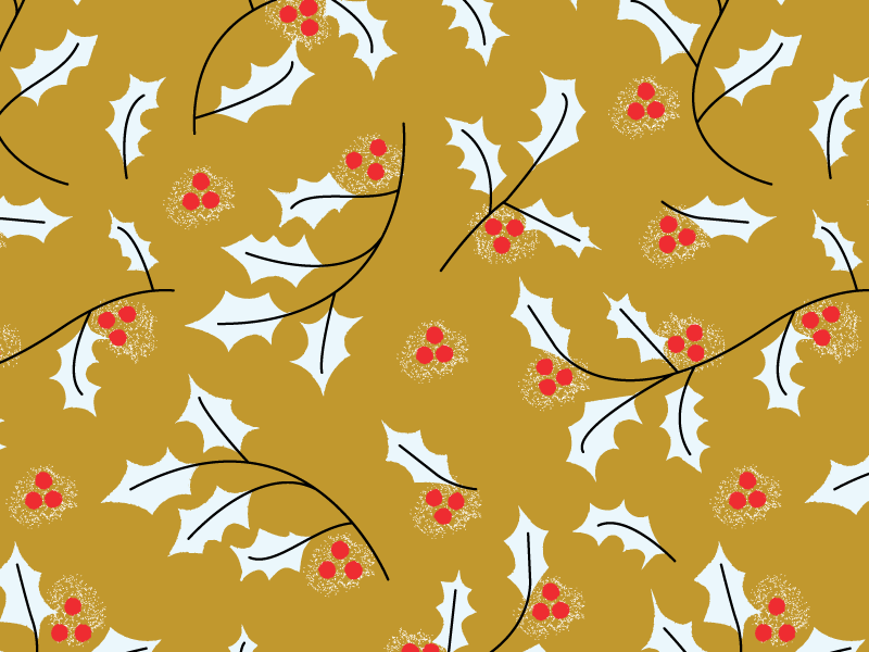 Holly Pattern Goldenrod floral berries holly gift wrap wrapping paper wallpaper christmas holiday surface design repeat pattern