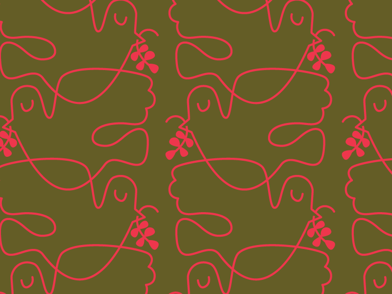 Peace Dove Pattern Neon Red & Green wrapping paper wallpaper peace dove holiday christmas seamless surface design repeat pattern