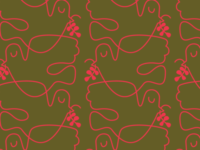 Peace Dove Pattern Neon Red & Green