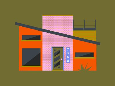 Another house bricks modern mid-century 70s ochre olive orange pink architect architecture exterior design building house illustration