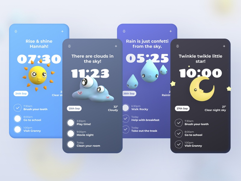 To Do List for Kids! weather to do list minimalist colorful kids illustration character app ux design blender 3d ui