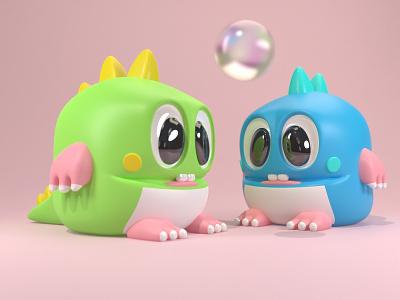 Bubble Bobble bubble dragon cute vintage retro videogame render character 3d illustration blender