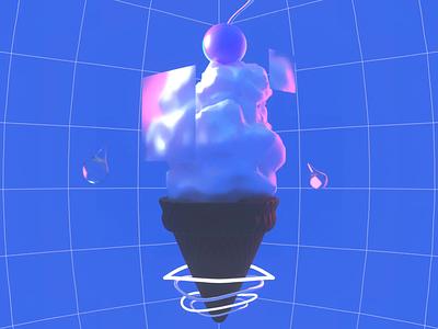 Ice cream from the clouds! blur cherry cloud colour ice cream cone retro ice cream loop 3d animation blender illustration