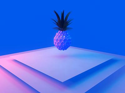 Pineapple 2d animation physics draw 2d render 3d animation blender illustration