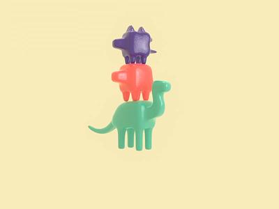 Gummy Dinosaurs loop render character animation 3d blender illustration candy jumping bouncy gummy dinosaurs