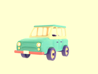 Dream car building toy car loop render animation 3d blender illustration