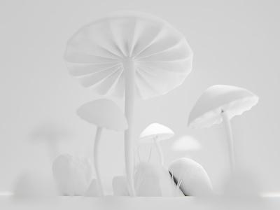 Magic mushrooms pastel colors scene tiny macro mushrooms design render 3d blender illustration