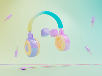 Go wireless pastel colors dancing music headphones loop render animation 3d blender illustration