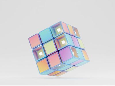 Rubik's cube game toy transparent rotating rubix cube rubiks loop render animation 3d blender illustration