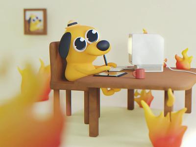 This is Fine eevee lowpoly dog thisisfine deadline 3dart meme character render 3d blender illustration