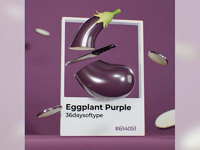 E for Eggplant colorful designinspiration 3dart veggies purple eggplant pantone typography typecollect lettering font b3d blender 36daysoftype