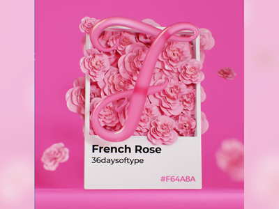 F for French rose colorful designinspiration 3dart rose pink roses pantone typography typecollect lettering font b3d blender 36daysoftype