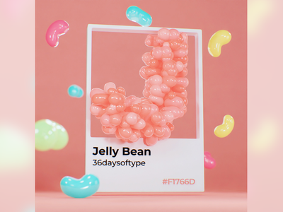 J for Jelly Bean 🤤 colorful designinspiration 3dart pastel candy sweet pantone typography type design typeart lettering font b3d blender 36daysoftype