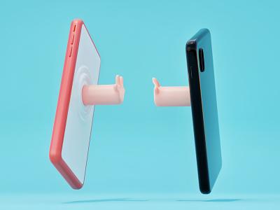 Better together together love contact hands human phone render 3d illustration blender